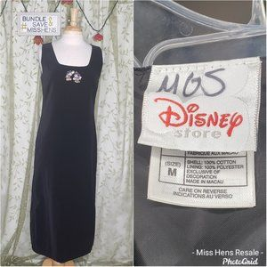AUTH DISNEY MICKEY MOUSE BLACK VELVET MAXI DRESS